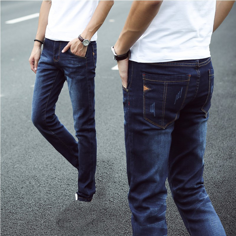 Fashion 2017 Autumn Winter Casual Denim Stretch overalls Blue Skinn jeans young men s trousers male
