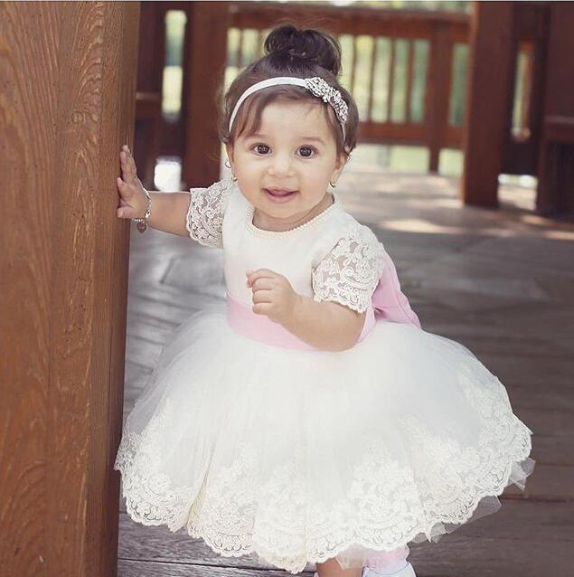 658c173158d7 Short sleeves white/ivory knee-length pearl flower girl dress with pink bow  sash
