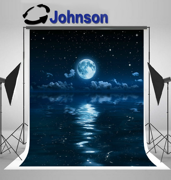 water Super full Moon Clouds Night Sea background Vinyl cloth High quality Computer print wedding backdrop