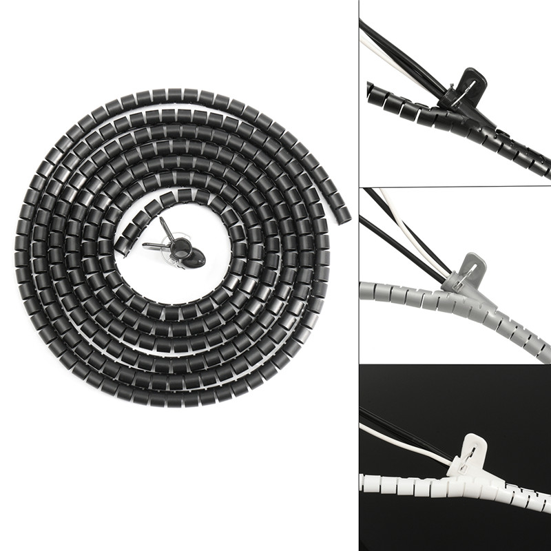 3 Meter 10mm Spiral Wrap Cable Tidy Wire with Clip Organising Tool Kit Black/ Beige / Gray Promotion