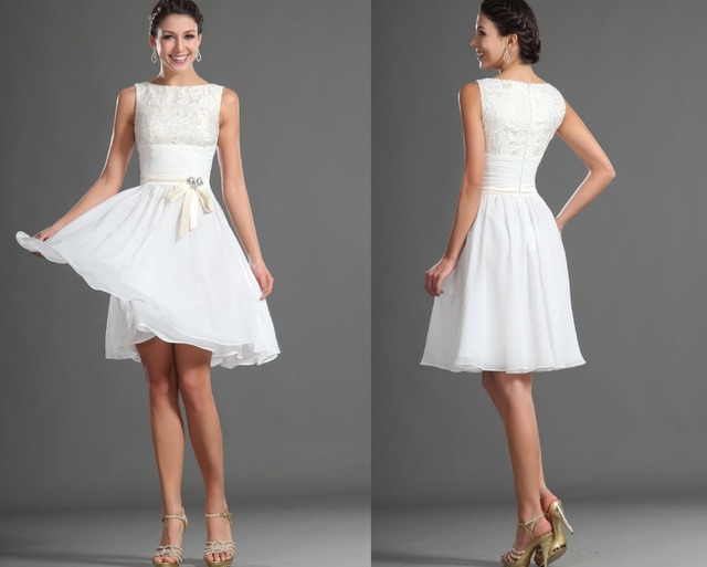 d3bf246aec9d Homecoming Dresses 2014 Fresh Scoop A-Line Knee-Length White Chiffon Lace  Ribbon Sash Ruched Bow Short White Graduation Dresses