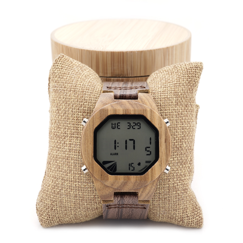 BOBO BIRD Top Brand Design Zebra Wooden Mens Watch LED Digital Watches With Wood Leather Straps