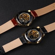 Men's Fashion Design Black and Golden Mechanical Watch