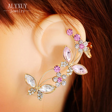 New crystal stone Insect butterfly rose ear cuff clip earring Top quality fashion jewelry gift for women girl E2484