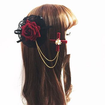 Lolita Girls Japanese Girls Rose Lace Hair Clip Gothic Lady Chains Hair Accessory Vintage