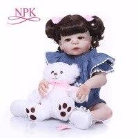Bebes reborn menina 2357cm NPK real newborn baby full silicone reborn girl dolls toys fashion children gift doll reborn