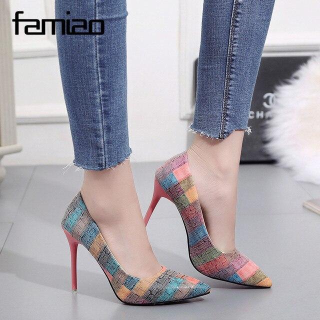 FAMIAO tacones altos mujer sexy 2018 wedding shoes bride multicolour 11cm  high heel shoes woman elegant dd3b0347cf97