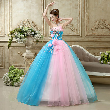 2017 Stock Cheap Blue And Pink Quinceanera Gowns Vestidos De 15 Anos Girls Birthday Party dress 15 years Sweet 16 Dresses