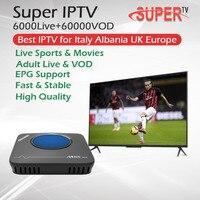 Best Super IPTV For Italy Albania UK Europe+M8SMAX Amlogic S912 Andriod TV Box 3G/32G Support OTA Dual Wifi BT4.1 4K Set Top Box
