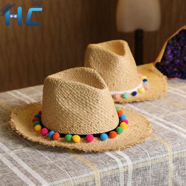 Лето Женщины Вс Шляпы Сладкий Красочные Кисточкой Шарики Соломенные шляпы Девушки Винтаж Пляж Панама Шляпы Chapeu Feminino Фетровых Джаз
