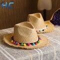 Verano Sol Sombreros de Las Mujeres Dulces de Colores Bolas Borla Niñas sombreros de Paja de La Vendimia Playa Sombreros de Panamá Jazz Chapéu Feminino