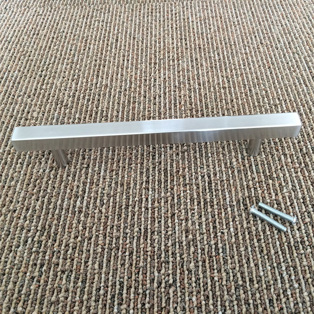 Brushed Nickel Kitchen Cabinet Pulls J22BSS Square T Bar Bathroom ...