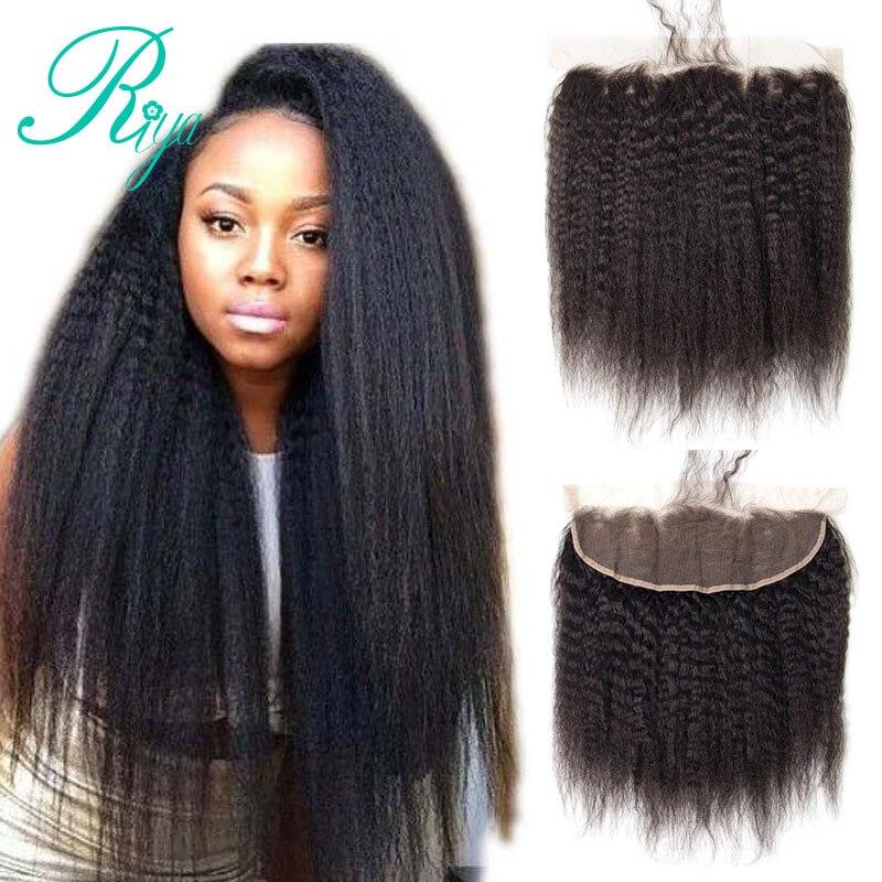 Riya Hair Mongolina Kinky Straight Hair Lace Frontal 13X4 Ear To Ear Coarse Yaki Indian Yaki Frontal With Baby Hair Pre-Plucked