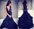 Sexy Negro Vestidos de Noche 2017 Robe De Soirée Larga Sirena de Las Colmenas Del Organza Por Encargo Delgado Equipada Tren de la Corte 2016