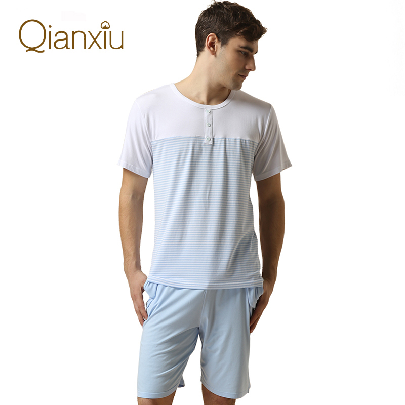 2019 Summer Mens Casual Pajama Sets Male Short Sleeve O-neck Collar T Shirt & Half Pants Men Cotton Sleepwear Suit Plus Size Clear And Distinctive Underwear & Sleepwears Men's Sleep & Lounge