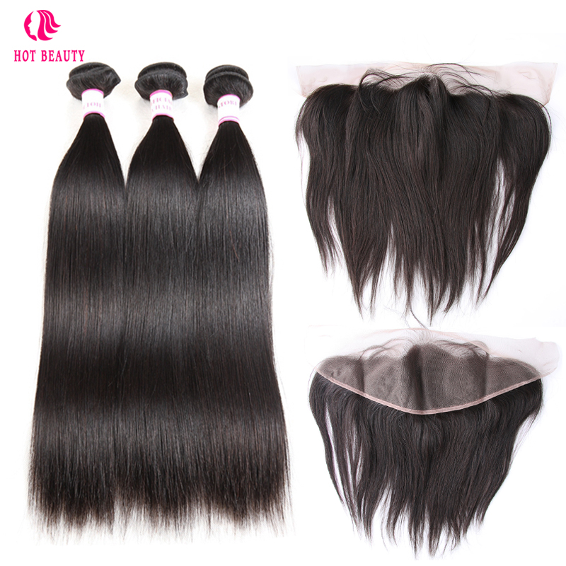 Hot Beauty Hair Brazilian Straight Hair Bundles With Lace Frontal Closure Pre Plucked Free Part Remy
