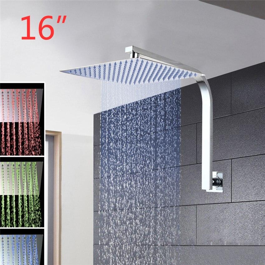 YANKSMART Shower Set 3 Colors LED Luxury Square Rain 16 Shower Head Wall Mounted Shower-set Rainfall Shower Set yanksmart bath