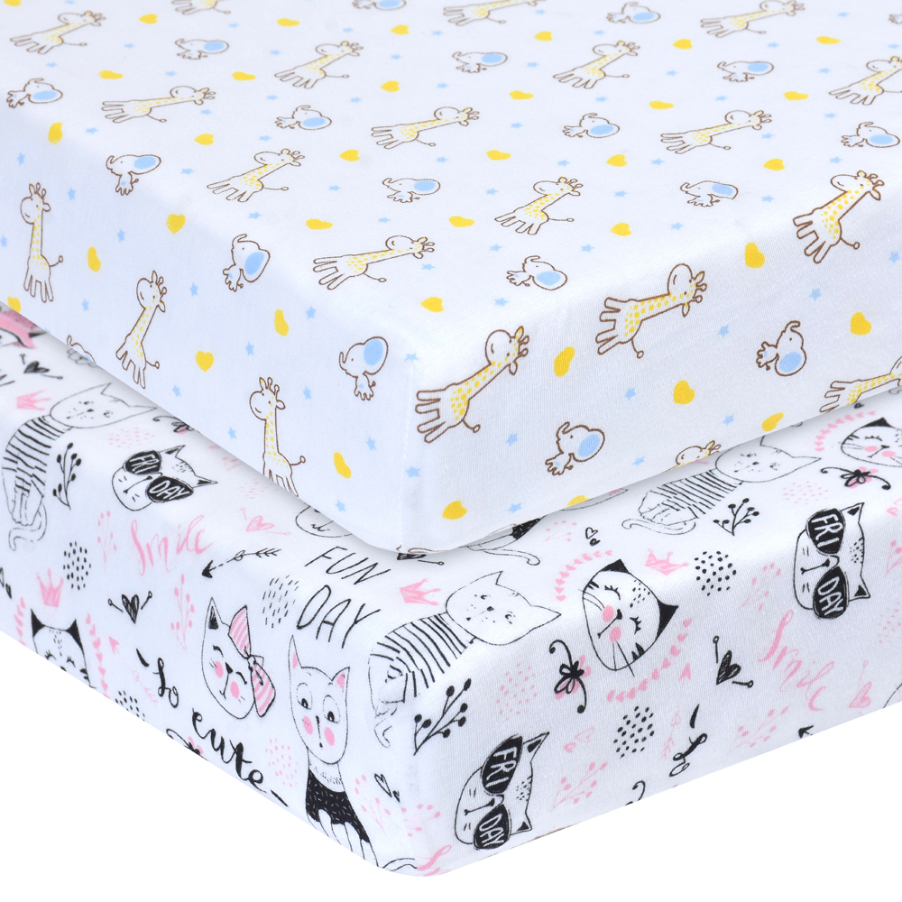 Stretchy Fitted Crib Sheets Portable Crib Mattress Topper For Baby Girls Boys Ultra Soft Jersey Full Standard Crib Fitted Sheet
