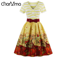 CharMma V Neck Print Bow Sweet Summer Dress 2017 Women A Line Short Sleeve Yellow Vestidos