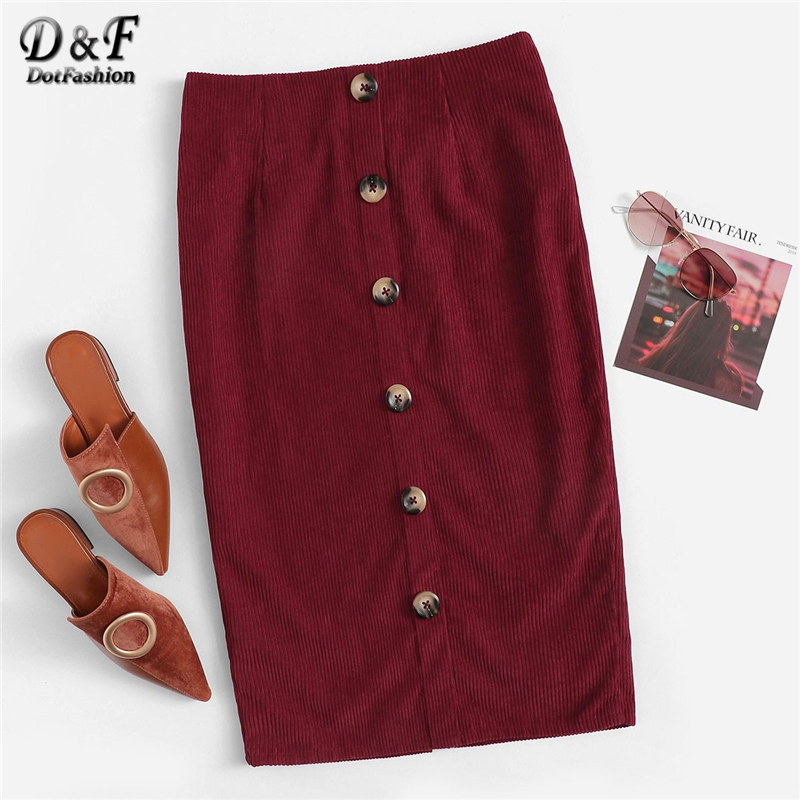 250dc91f4fae Detail Feedback Questions about Dotfashion Burgundy Slit Back Button Up  Pencil Skirt Women Elegant 2019 Autumn New Korean Style Ladies Casual Knee  Length ...