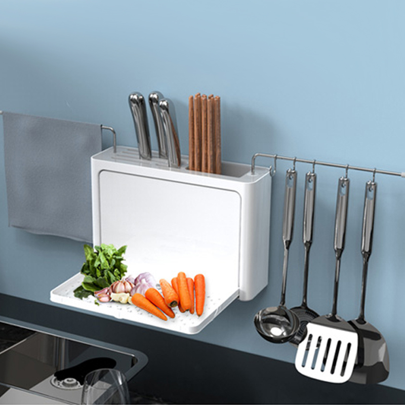 Image 4 - Cutlery Drainer with Easy Drain Spout Kitchen Storage Organizer Fork Knife Holder Spoon Chopsticks Filter Rack Knife Rack tools-in Racks & Holders from Home & Garden