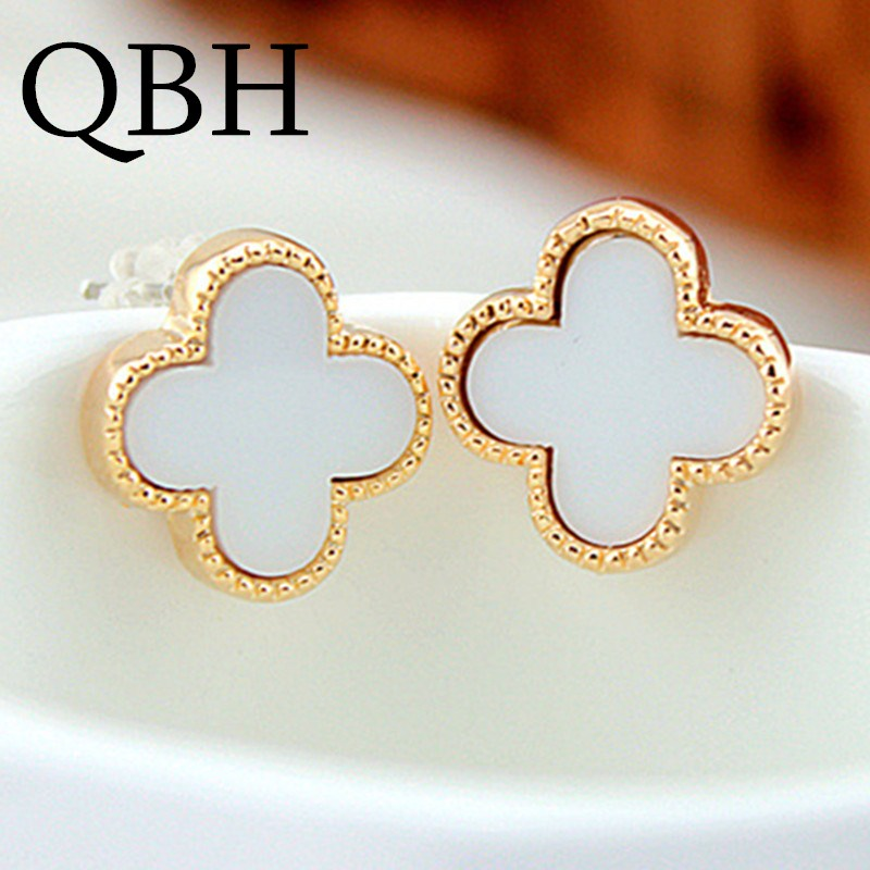 EK059 New Fashion Punk HOT Brincos Boucle Bijoux Flower Cross Clover Stud Earrings For Women Wedding Girl Jewelry Orecchini