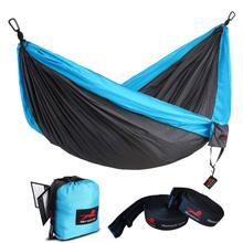 Rede de acampamento com rede árvore correias portátil parachute duplo náilon hammock para mochila viagem