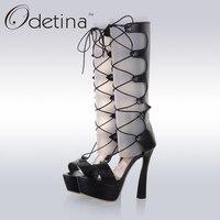 Odetina 2017 New Knee High Open Toe Platforms Gladiator Sandals Women Lace Up Summer Boots Cross