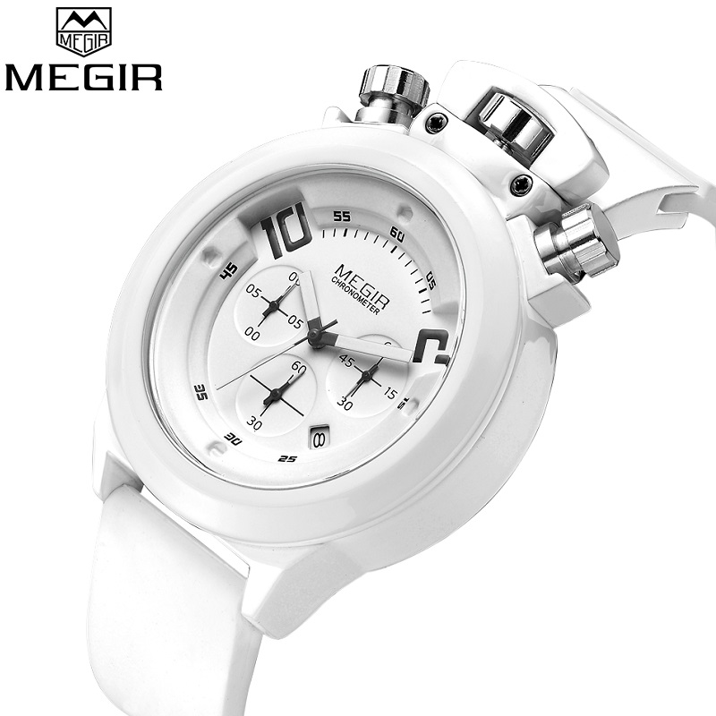 Megir Mens Silicone Sports Watches White Men 2017 New Quartz Watch Date Chronograph Army Military Wristwatch Relogio Masculino pair of chic style faux crystal earrings for women