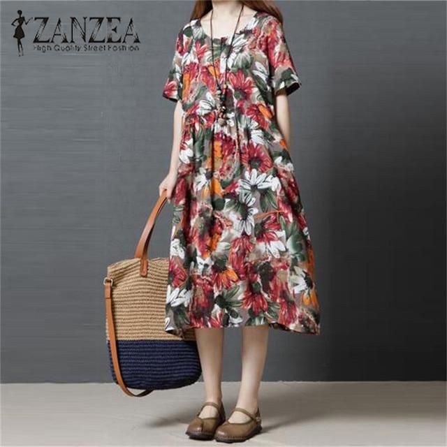 ea6bfef78dcc S-5XL ZANZEA Boho Floral Print Women Short Sleeve Summer Button Pockets  Casual Party Midi
