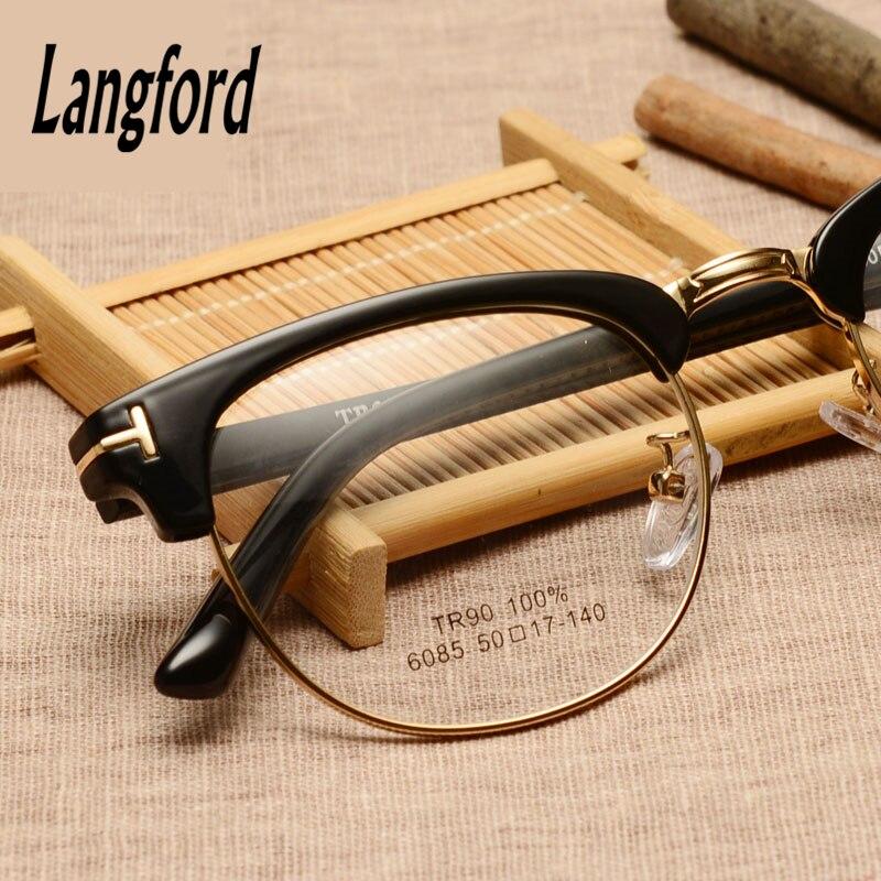 Langford marke optische rahmen männer brillen halbrahmen TR90 ...