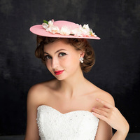 Top Kwaliteit Bridal Sinamay Tovenaar Dames Kentucky Derby Kerk Wedding Party Fedora Top Hoeden Meisje Leuke Bloem Roze Hoofddeksels
