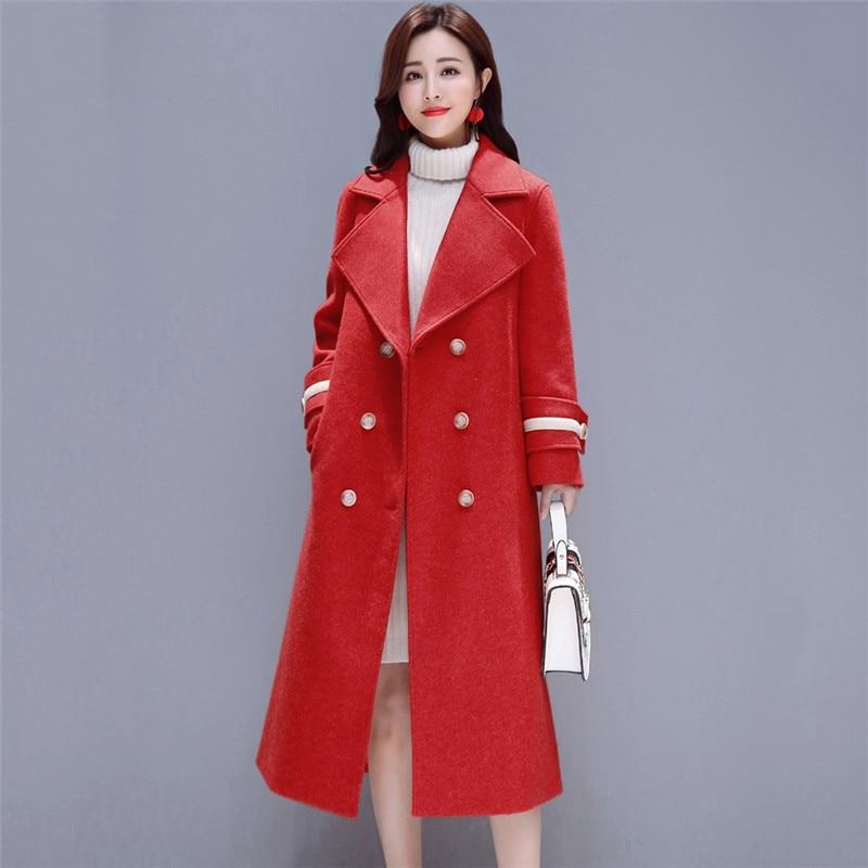 Femmes Lâche Qw024 Automne 2019 rouge Beige Laine rose De Moyen Femme caramel Manteau Colour À Boutonnage Haut Printemps bleu Gamme Double Nouvelle Longues Dames qvXT0I