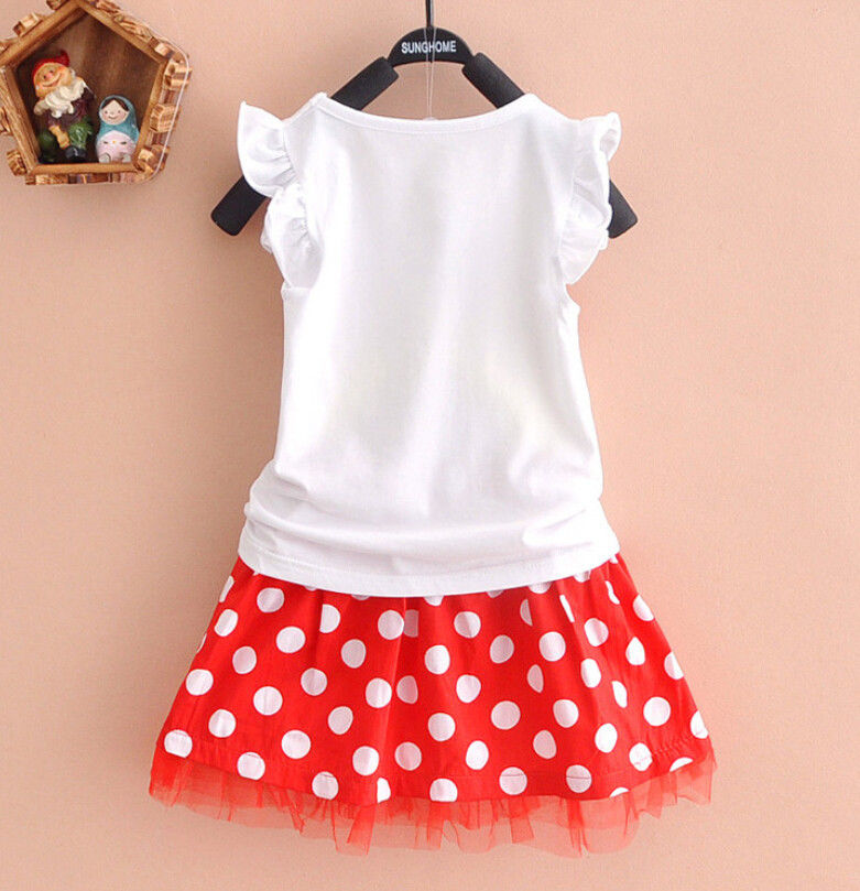 Cute Baby Girl Minnie Mouse Dress Kids Cartoon Tops Clothes Skirt Dress Age 0-5Y