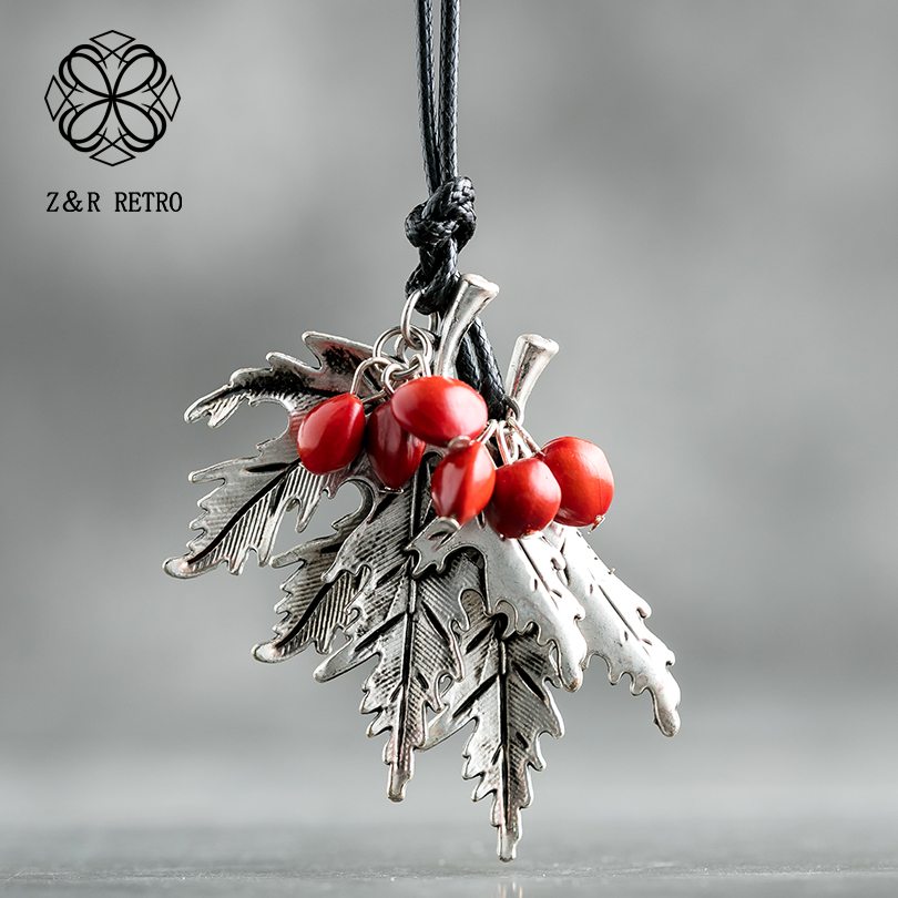 2019 Vintage Long Necklaces For Women And Men With Handmade Red Beans Retro Leaf Gift Leather Chain Pendant Necklace Jewelry