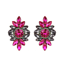 Colorful Charm Stud Earrings Flower Big Brand Design Luxury Rhinestone Starburst Pendant Crystal Gem Statement Earrings Jewelry