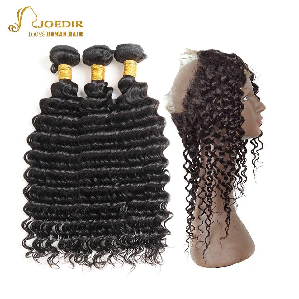 Joedir Hair Deep Wave 360 Snörning Frontal Closure With - Skönhet och hälsa - Foto 1