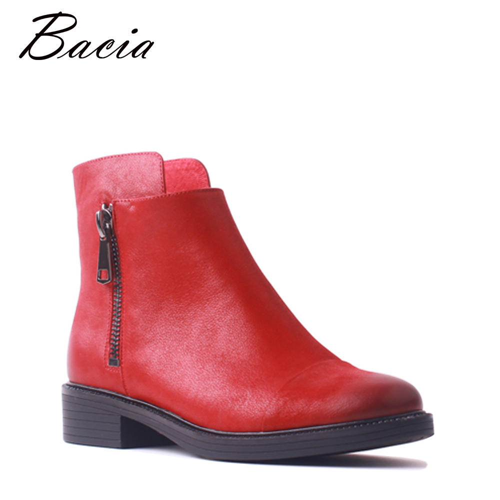 Bacia Women Genuine Leather Boots Handmade Zipper Ankle Boot Red Black Square Toe Short Boots Thick High Heel Ladies Shoes SB096 bacia genuine leather boots short plush women shoes black simple style ankle boots with zipper handmade high quality shoes vd021