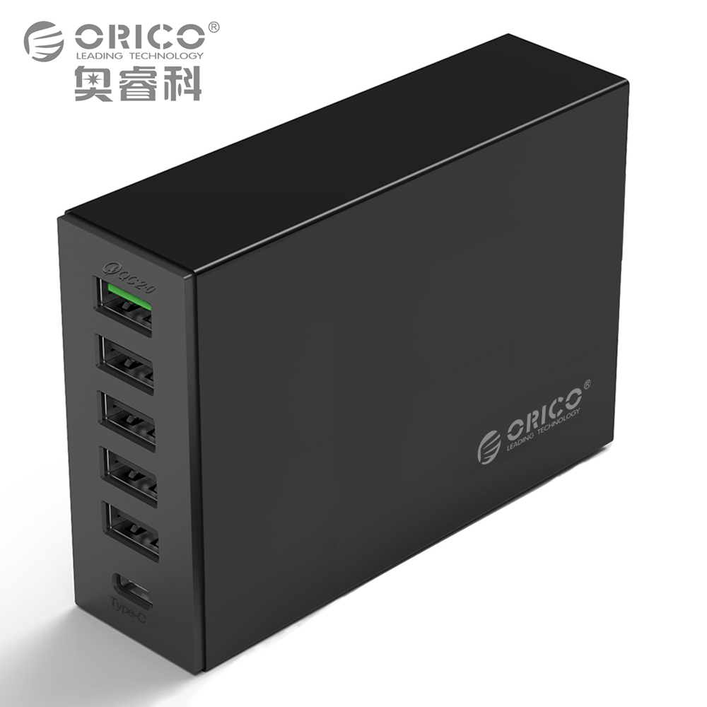 Type-C QC2.0 Quick Charger, ORICO 6-ports Charger 5V2.4A 9V2A 12V1.5A Type-..