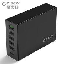 Тип-C QC2.0 Быстрый Зарядное устройство, ORICO 6-порты Зарядное устройство 5V2. 4A 9V2A 12V1. 5A Тип-C 3.1A мобильного телефона Зарядное устройство для iPhone samsungmore