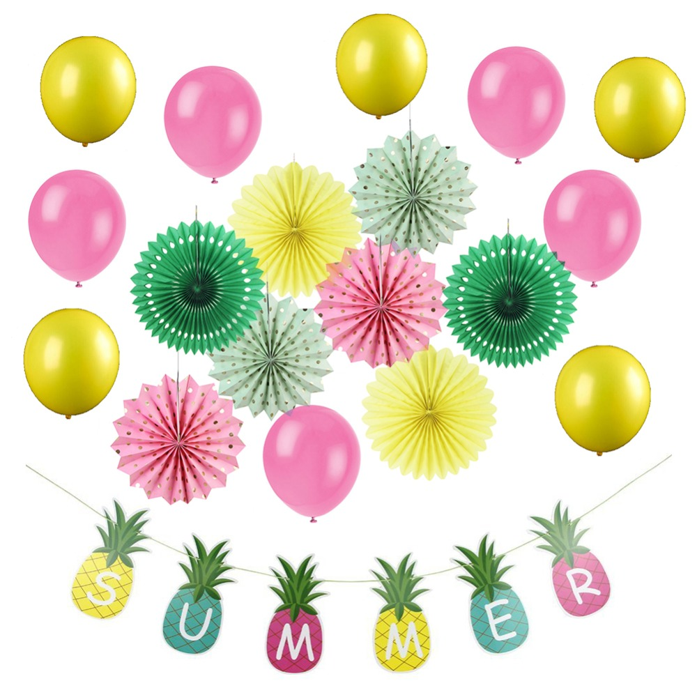 19pcs/set Party Decorations Summer Swimming Pool Beach Pineapple Banners Decor