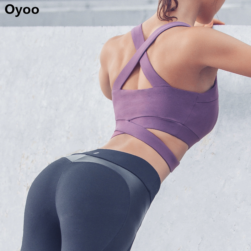 Oyoo Purple Strappy High Impact Sports Bra Sexy Cropped Yoga Tops Black Activewear Contrast Grey Workout