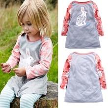 цена на Princess Dress Long Sleeve 2020 Brand Spring Autumn Baby Girls with Rabbit Print Dress Kids Dresses for Girls Clothes