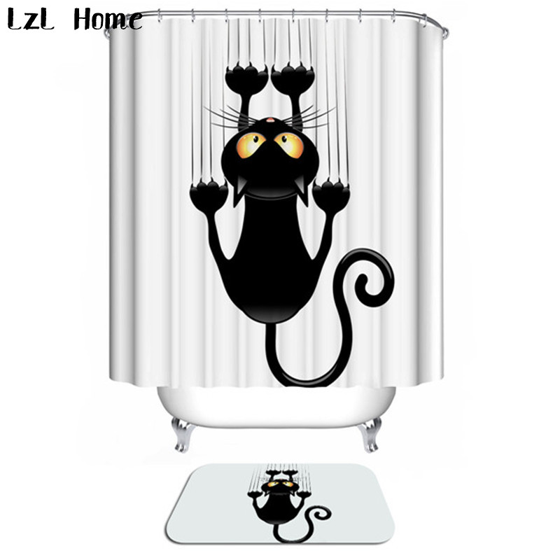 LzL maison Rideau De Douche Tapis De Bain 3D chat imperméable Polyester Rideau De Douche antidérapant Tapis De Bain maison salle De bains décor