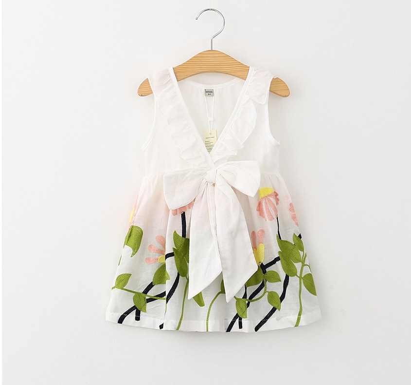 0600cfed0976 Kid Dress white Girl clothes summer Children Clothing Cute Bow ...