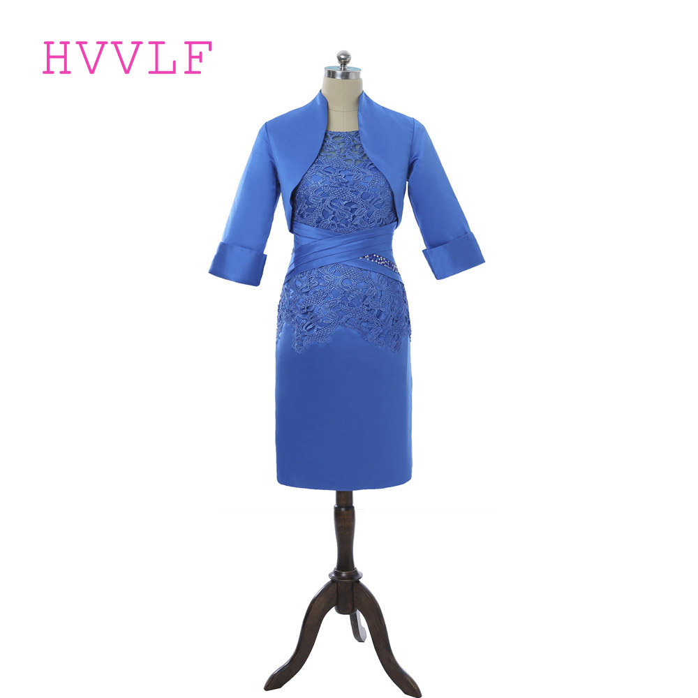 Royal Blue 2018 Mother Of The Bride Dresses Sheath Knee Length Lace Beaded With Jacket Groom Formal Mother Dresses For Wedding
