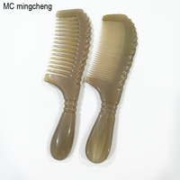 MC Hot Hair Combs Large Round Handle Ox Horn Comb Women Wide Tooth Lace Massage Brush Anti Static Beauty Hair Brushes