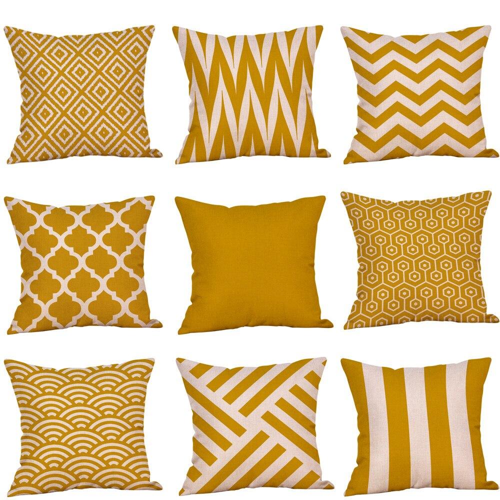 Cojines Housse De Coussin Mustard  Yellow Geometric Fall Autumn Cushion Decorative Funda Cojin Kussenhoes2.388