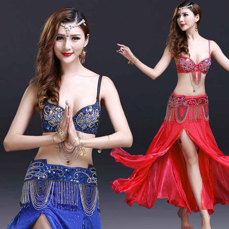 2018 Belly Dance Costumes Sexy Clothes Belly Dance Bra And Belt Sets Belly Dance Costume Set Woman Korean Yarn 3 Colors DN1410