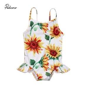 2019 Brand Infant Kids Baby Girls SunFlower Swimwear Bodsuit Summer Cute Sleevess Sling Bathing Suit Beach Clothes Tankini 0-24M(China)